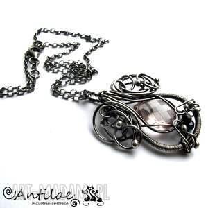 naszyjnik naszyjniki różowe kalpeus - kwarc, spinel, srebro