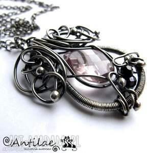 czarne naszyjniki srebro kalpeus - kwarc, spinel,