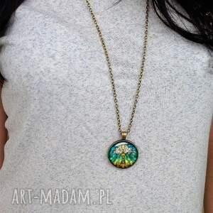 hand made naszyjniki medalion kameleon - z łańcuszkiem