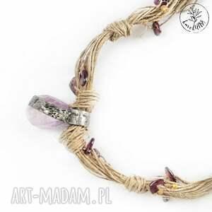 fioletowe naszyjniki lniany karolutka tworzy - naszyjnik