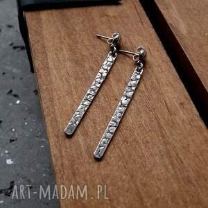 niekonwencjonalne naszyjniki minimalistyczne kolczyki sople fakturowane - srebro