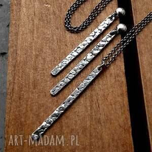 patyczki naszyjniki kolczyki sople fakturowane - srebro