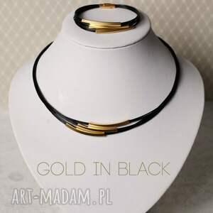 nietypowe naszyjniki kolia gold in black