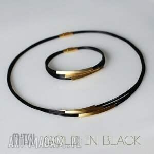 czarne naszyjniki elegancka kolia gold in black