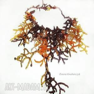 naszyjniki koralowiec naszyjnik wykonany pracochłonna techniką haftu