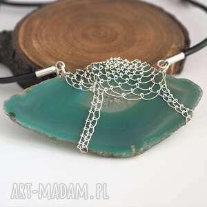 handmade naszyjniki agat koronkowy morski