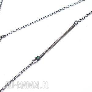 hand made naszyjniki srebro kreska emerald -naszyjnik