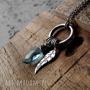 niebieskie naszyjniki z-piórem kropleka z piórkiem - srebro i