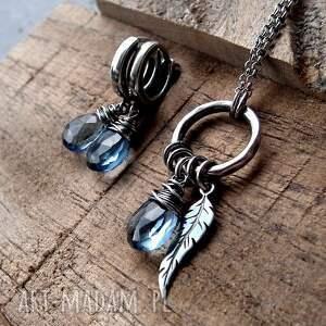 naszyjniki delikatny kropleka z piórkiem- srebro i kwarc