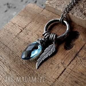 handmade naszyjniki z-piórem kropleka z piórkiem - srebro i