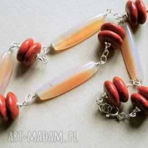 czerwone naszyjniki srebro krótki naszyjnik z korala, agatu