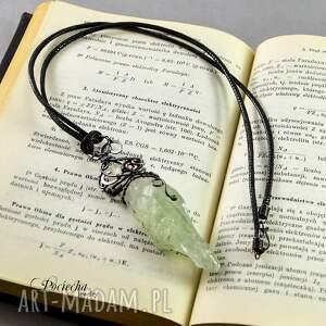 naszyjniki kryształ zielony - surowy wisior