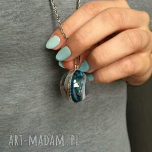 niebieskie naszyjniki kot kulisty dwustronny medalion