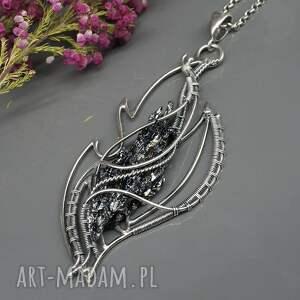 ciekawe kwarc tytanowy, srebrny naszyjnik