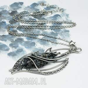 naszyjniki srebro oksydowane kwarc tytanowy, srebrny naszyjnik