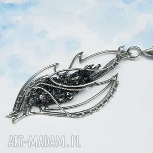 niebieskie naszyjniki srebrny łańcuszek kwarc tytanowy, naszyjnik