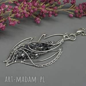 ciekawe naszyjniki srebro oksydowane kwarc tytanowy, srebrny naszyjnik