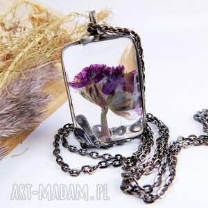 srebrne naszyjniki kwiaty kwiat w szkle - wisiorek