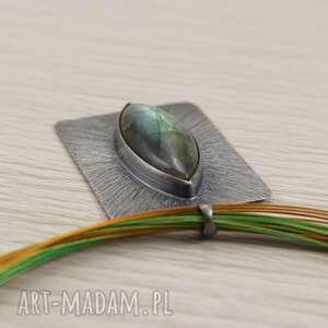 zielone wielokolorowy labradoryt stalowe linki i srebro