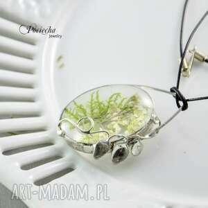 naszyjnik naszyjniki zielone łąka - z kwiatami
