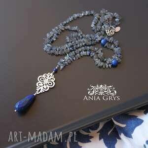 naszyjnik niebieskie lapis lazuli, rozeta i labradoryt