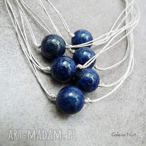 niebieskie naszyjniki lapis lazuli - lniany naszyjnik