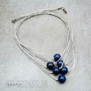 lato naszyjniki lapis lazuli - lniany naszyjnik