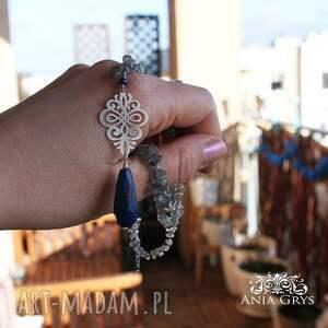 Lapis lazuli, rozeta i labradoryt - naszyjnik