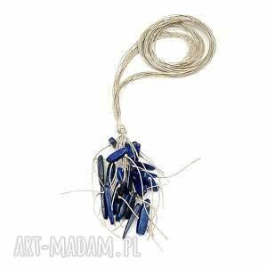 niebieskie naszyjniki lapis lazuli sople - lniany