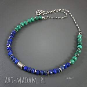 handmade naszyjniki srebro lapis lazuli z malachitem