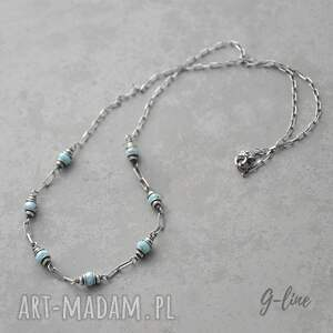 niebieskie naszyjniki larimar . srebrny naszyjnik i