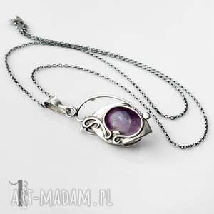 różowe naszyjniki naszyjnik-srebrny lawendowy amulet - naszyjnik