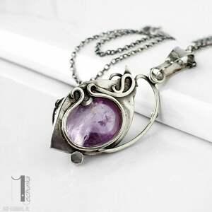 naszyjnik-srebrny naszyjniki fioletowe lawendowy amulet - naszyjnik