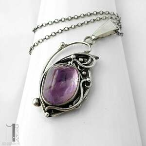 naszyjniki ametryn lawendowy amulet - naszyjnik