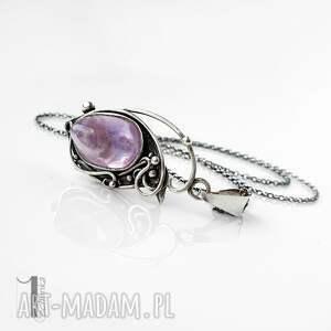 ręczne wykonanie naszyjniki naszyjnik-srebrny lawendowy amulet - naszyjnik