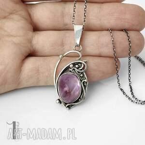 naszyjnik-srebrny naszyjniki lawendowy amulet - naszyjnik