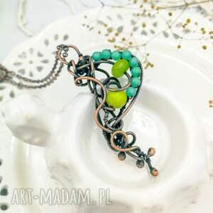 Pracownia Miedzi naszyjniki: Lime boho - naszyjnik z wisiorem - na prezent z-jadeitem