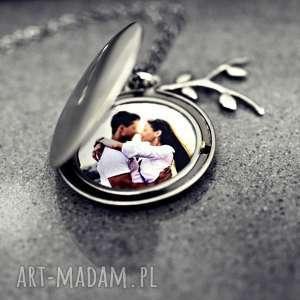 naszyjniki foto liście medalion ze zdjęciem