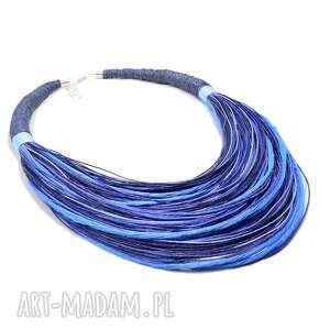 naszyjniki lniany lniane boho błękitne, stopniowany