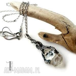 wirewrapping naszyjniki srebrne lodowy amulet - srebrny naszyjnik