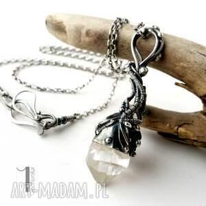 białe naszyjniki kryształ lodowy amulet - srebrny naszyjnik