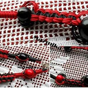 czerwone naszyjniki makrama ludum balls