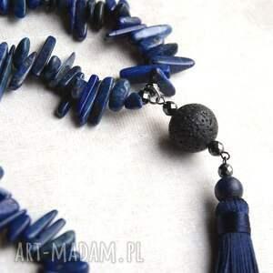 niebieskie naszyjniki unikatowy lux. wisior boho:: lapis