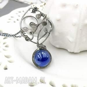 srebrne naszyjniki magiczna kula niebieska - naszyjnik