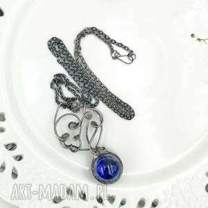 hand made naszyjniki wisior kula magiczna niebieska - naszyjnik