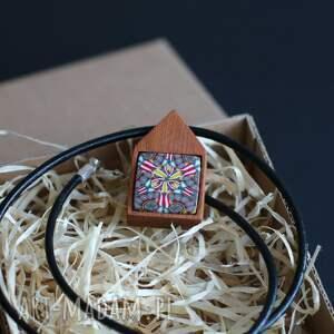 ręcznie zrobione naszyjniki mahoń z polymer clay, naszyjnik