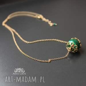 naszyjniki malachit w złocie