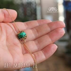 Anna Grys naszyjniki: Malachit w złocie - aniagrys pozłacany