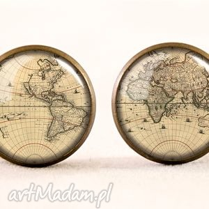 handmade naszyjniki stara mapa świata - medalion