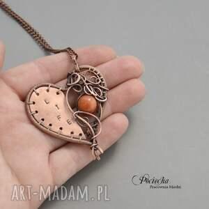pomarańczowe naszyjniki serce marble life - naszyjnik z marmurem